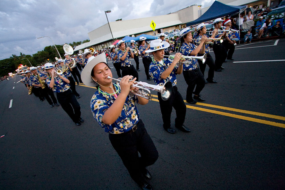 Hilo High School Band marching in the Lehua Jaycees Island Style Christmas parade in Hilo. More photos inside.