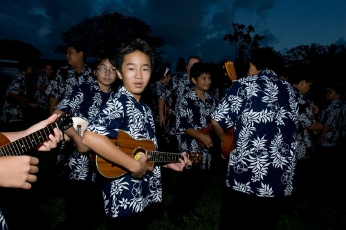 Ukulele players from Waiakea Intermediate School prep for the Lehua Jaycees Island Style Christmas parade in Hilo.