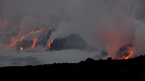 Lava enters the ocean (Photo by Baron Sekiya/Hawaii247.com)