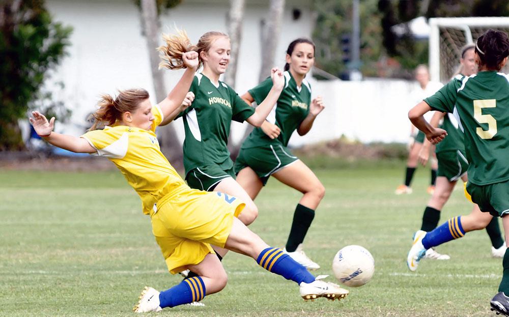 Honokaa vs. Hilo soccer at the Hilo Bayfront soccer field