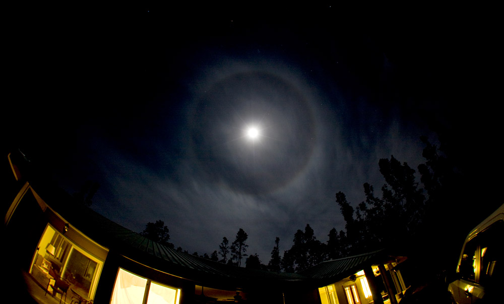A moon halo seen from Hawaiian Paradise Park in Keaau, Hawaii.
