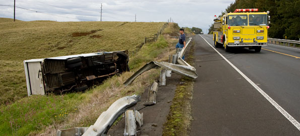 A large food service truck overturned alongside Highway 19 on the Mauna Kea side just west of Waimea Country Club Thursday morning. The hazardous materials unit as well as an engine and medic unit arrived on scene shortly after 9 a.m. according to the Fire Department.