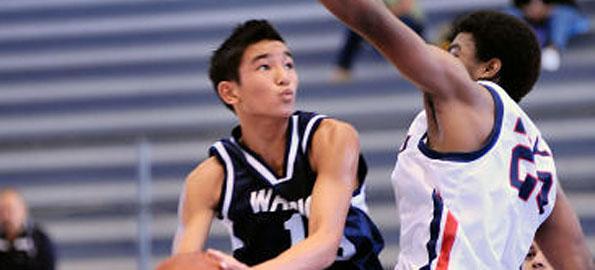 Waiakea's Issak Janado soars to the basket. Janado scored 17 points for the victorious Warriors
