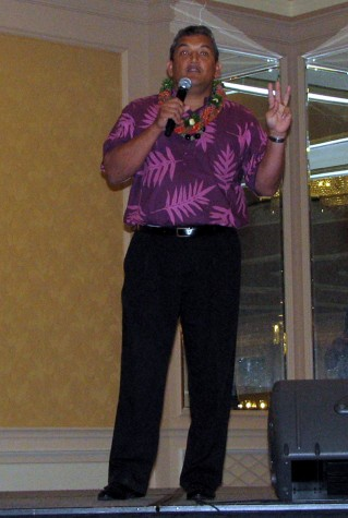 Mayor Billy Kenoi speaks Friday, Dec. 5 at the Big Island Visitors Bureau annual luncheon at The Fairmont Orchid Hawaii. (Photo by Karin Stanton/Hawaii247.com)