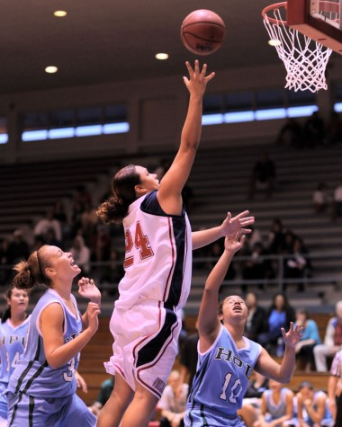 UH-Hilo's Sheila Azevedo takes it to the hoop against Hawaii Pacific during action at Afook-Chinen Civic Auditorium. Azevedo scored 13 points during the game.