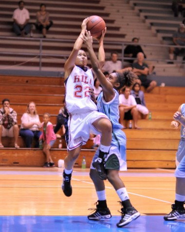 UH-Hilo's Hina Kimitete (22) scored 23 points against Hawaii Pacific University.