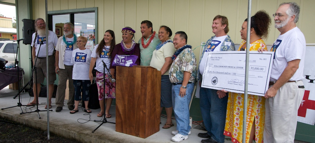 Mayor Billy Kenoi presented a $35,000 check from the county to the Puna Community Medical Center.