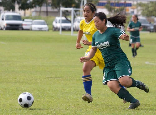 Hilo's Becca Hiraishi (22) and Konawaena's Carli Yamamoto (21) charge after the ball during BIIF soccer action at Hilo Bayfront soccer fields.