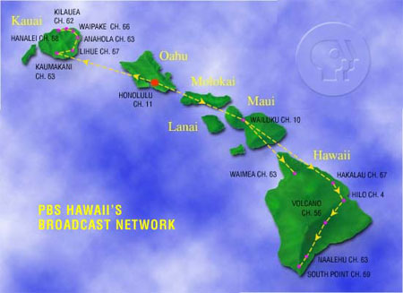 How PBS Hawaii relays their signal from Honolulu to the neighbor islands (map courtesy of PBS Hawaii)