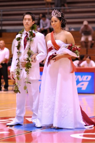 Homecoming King Jess Maiva and Queen Chelbie-Lyn Hanohano. Jess is a player on the St. Josephs boys varsity basketball team while Chelbie-Lyn plays volleyball and soccer for St, Joseph.