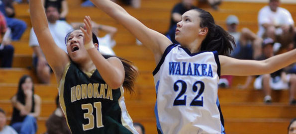 The Waiakea Warrior girls team beat the Honokaa Dragons in Wednesday night BIIF basketball action.