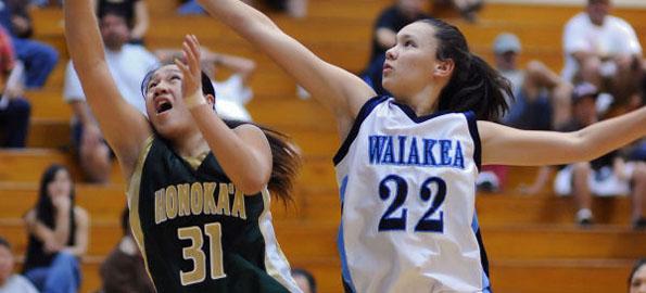 The Waiakea Warrior girls team beat the Honokaa Dragons in Wednesday night BIIF basketball action.