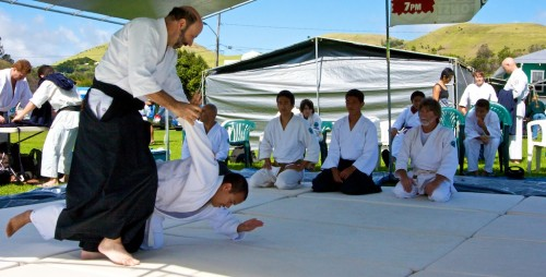 An aikido martial arts demonstration at Church Row by Aikido of Hilo at the Waimea Cherry Blossom Heritage Festival.