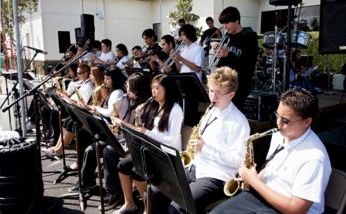 The Honokaa High School Jazz Band entertains the crowd.