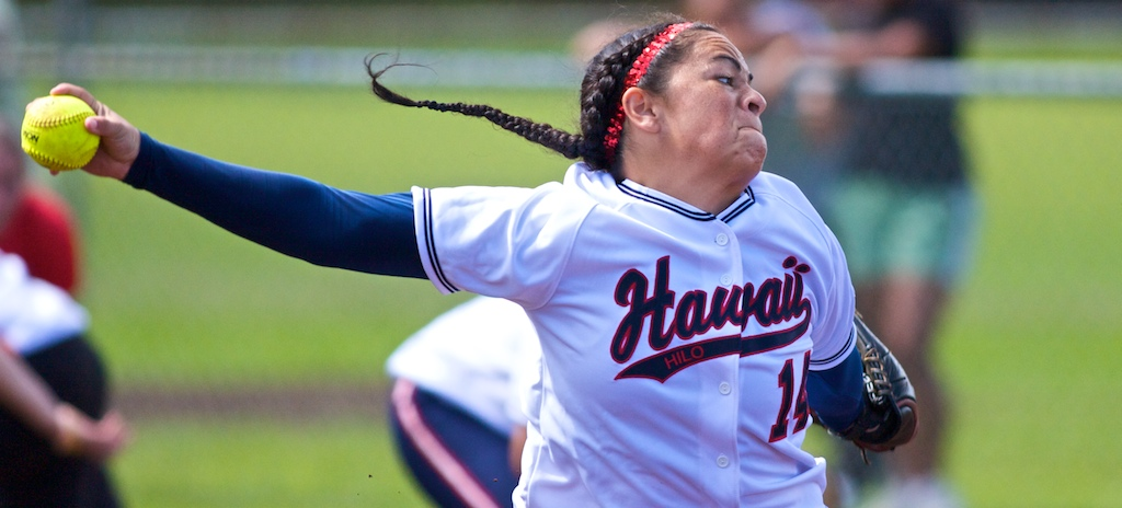 UH-Hilo Vulcan pitcher Sarah Weisskopf (14) fires one off the mound against the visiting BYU-Hawaii Seasiders during PacWest Conference action in Hilo. The Vulcans won the first game of the double-header 3-1 with Weisskopf recording the win. BYU-Hawaii won the second game 8-7.