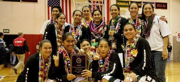 Konawaena wins the BIIF D-I championship 66-25 at Hawaii Prep's Castle Gymnasium Saturday night.