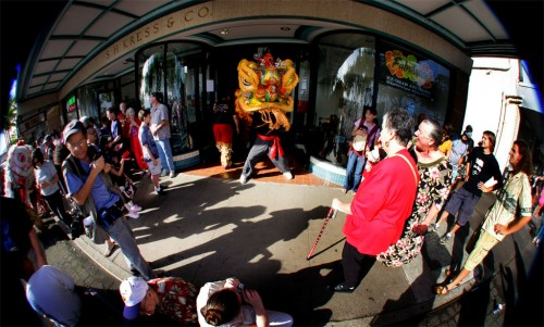 Hilo celebrates the Year of the Ox for the Chinese New Year's celebration. Big Island Shaolin Arts provided lion dancers as the event featured firecrackers, food, entertainment and crafts in downtown Hilo.