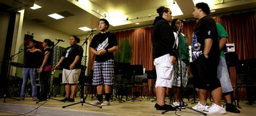 "Keaau High School students sing ""Lean On Me"" during their PTSA and Band Booster Variety Show."