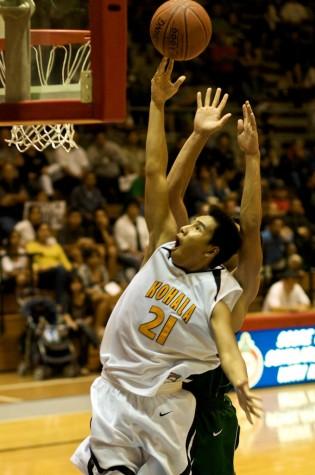 Kohala's John Allan Antonio (21) puts it up for Kohala during second half action at Affook-Chinen Civic Auditorium.