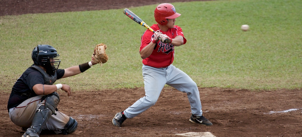 UH-Hilo Vulcan Kurt Tanabe at bat against the Academy of Art University during the first game of doubleheader action at Wong Stadium.