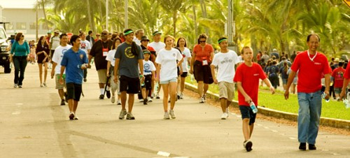 Participants in the Hilo Heart Walk make the morning stroll next to Hilo Bay to raise their fitness along with funds for the American Heart Association.