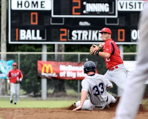 George Fox University's Dan Winterstein is out at second base on a fielder's choice as the Vulcan's T.J. Pilla looks to throw to first base.