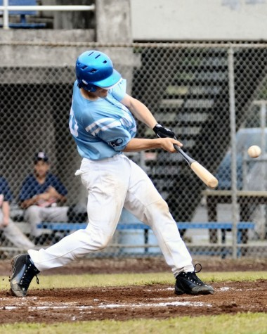 Kealakehe's Tanner Benbow doubles to lead off the third inning.