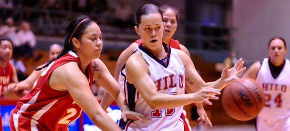 UH-Hilo's Ashley Kualii dishes out one of her game high 7 assists.