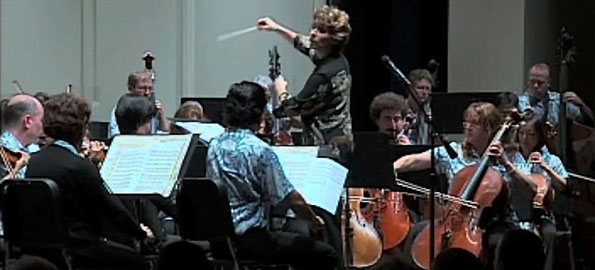The Honolulu Symphony at Kamehameha-Hawaii Keaau campus Wednesday. The Symphony will play in Kona tonight at Konawaena High School for a free concert. Tickets are required for entry.