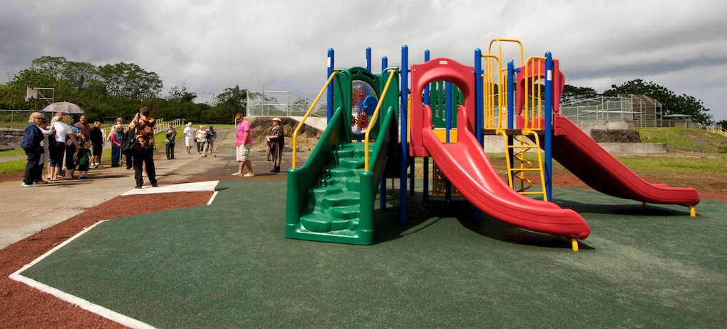 New playground equipment in Pahoa was dedicated on Friday morning by the county. The playground is located next to the skate park and Pahoa Aquatic Center.