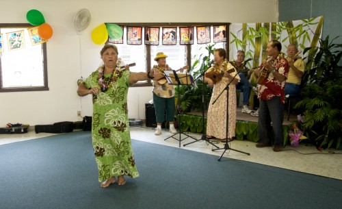 The Alu Like Kupuna performing at Montessori Country School in Pahoa.