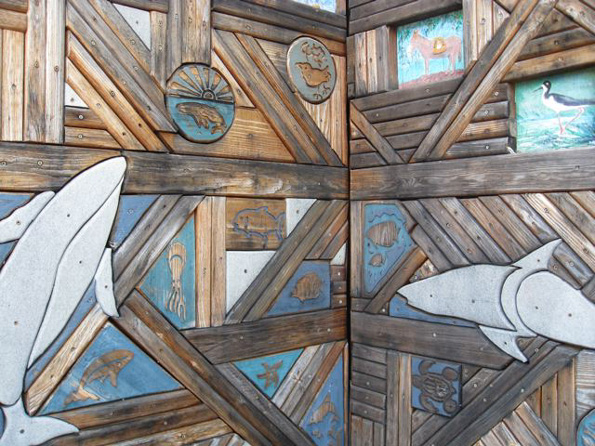 Some of the playground's wooden art work will be restored to maintain the park's core features. (Photo courtesy of Cliff Kopp)