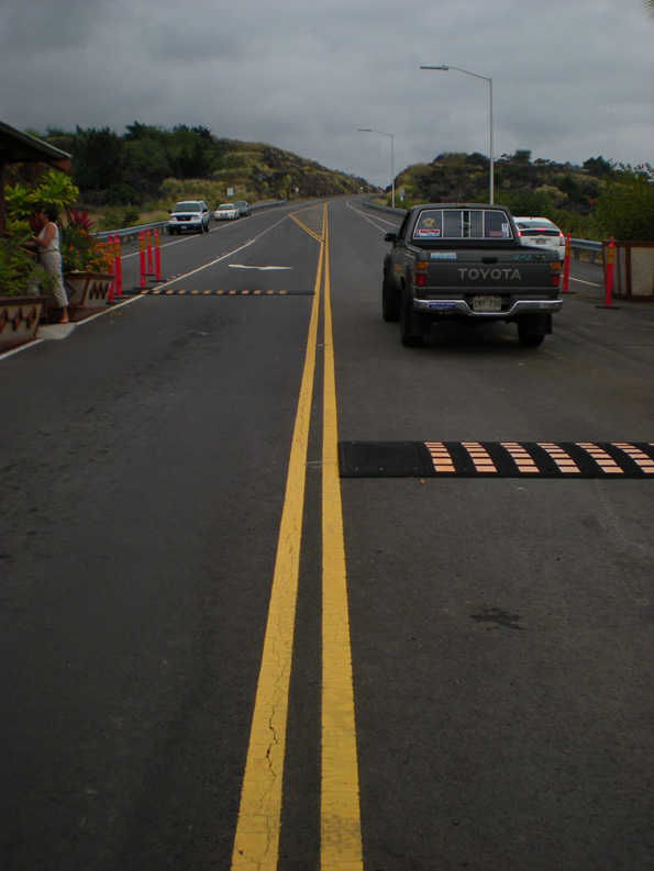 A driver tests out the Mamalahoa bypass Monday afternoon. (Hawaii247.com photo by Karin Stanton)