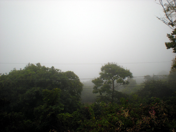 At about 3 p.m., the mist rolled in, blocking the usual view of the coastline and Kona International Airport. (Hawaii247.com photo by Marian Stanton)