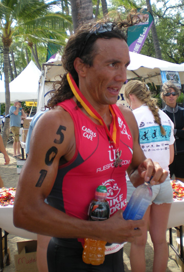Luis Dela Torre, of Kona, was the fourth across the finish line with a time of 1:57.33 (Hawaii 247.org photo by Karin Stanton)