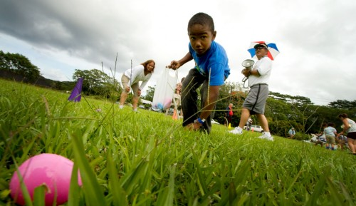 Over 1,000 Easter Eggs were laid out on the field at Hawaiian Beaches Park filled with prizes for kids.