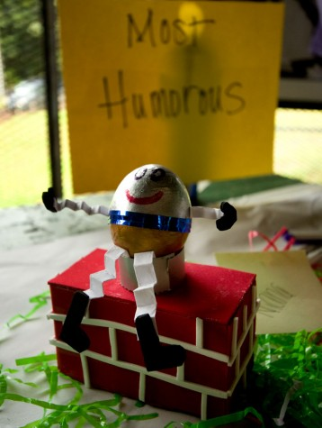 One of the entries in the 'most humorous' category of the egg decorating contest.