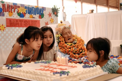 Today was an event well worth waiting for. Matsue Nishimura, who was born on April 9, 1909, celebrated her 100th birthday today with her friends and family at the Hilo Hospital extended care facility. The birthday girl was born in Kalaoa, Papaikou and attended Kalanianaole School. She has seven children, 19 grandchildren, and 19 great-grandchildren.