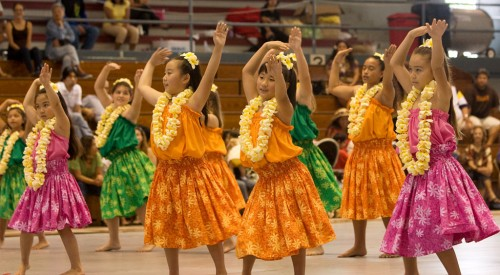 Keiki perform the hula at the Hoolaulea. Free noontime entertainment during the week will be held at the Hilo Hawaiian Hotel and Naniloa Volcanoes Resort on Banyan Drive.
