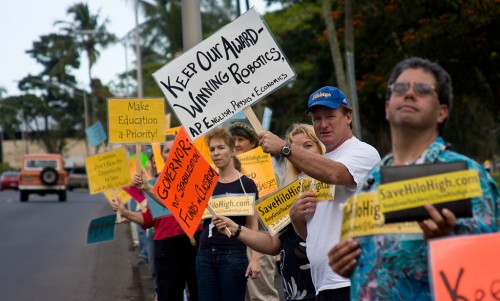 Students, teachers, parents and supporters of Hilo High School protest Gov. Linda Lingle proposed diversions stimulus funds for education into other state agencies.