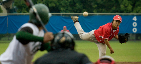 Hawaii Prep's Devin Fujioka fires a pitch off the mound against Konawaena during the BIIF D-II championship at Wong Stadium in Hilo.