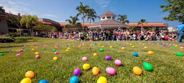 Kids get ready to scramble for eggs during the Great Waikoloa Easter Egg Hunt Saturday morning at Queens' MarkePlace at Waikoloa Resort. Michael Darden Photography