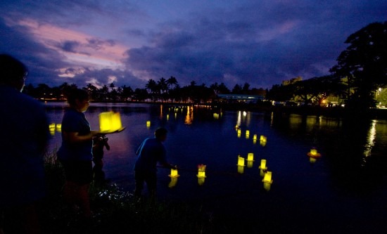 Iluminaries are released at Wailoa State Park in memory and honor of those who have passed during the Hospice of Hilo event, 'A Celebration of Life.'