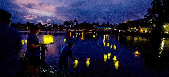 Luminaries in memory and honor of those who have passed are released Saturday evening during the Hospice of Hilo 'Celebration of Life' event.