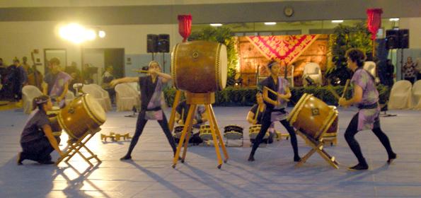 The Kona Daifukuji Taiko group kicked off May Day celebrations at Kealakehe High School.