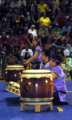 The drummers of Kona Daifukuji Taiko.