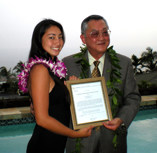 Malia Tanaka poses with Chief Justice Ronald Moon during the awards ceremony earlier this month. (Hawaii247.com photo by Karin Stanton)