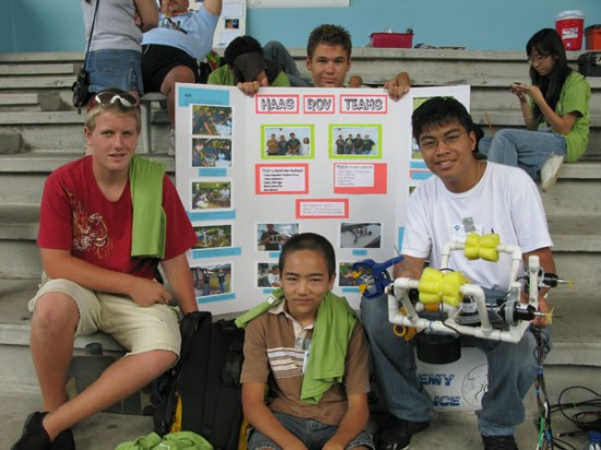 Hawaiian Academy of Art and Sciences team with their ROV and poster