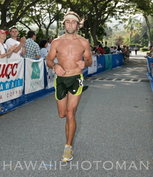 Billy Barnett, of Volcano, is the first Big Islander to finish the Kona Marathon with a time of 2:58:45 putting him third place overall.