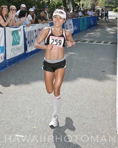 The first female Big Island finisher of the Kona Marathon is Rani Tanimoto of Kealakekua with a time of 3:26:07.